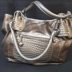 KATHY VAN ZEELAND Croc Print Vegan Leather Bag